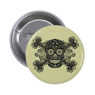 Antique Sugar Skull & Crossbones Button