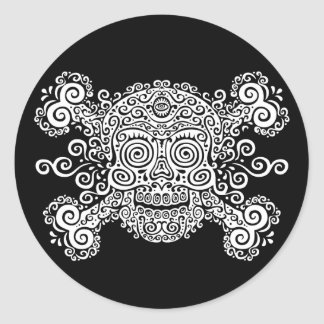 Antique Sugar Skull & Crossbones II Classic Round Sticker