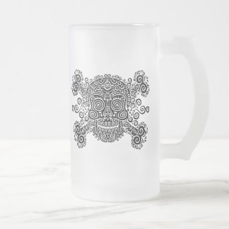 Antique Sugar Skull & Crossbones II Frosted Glass Beer Mug