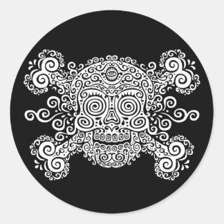 Antique Sugar Skull & Crossbones II Classic Round Sticker