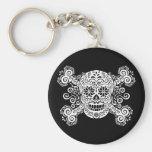 Antique Sugar Skull & Crossbones Basic Round Button Keychain