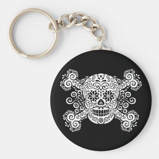 Antique Sugar Skull & Crossbones Keychain