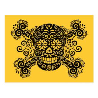 Antique Sugar Skull & Crossbones Postcard