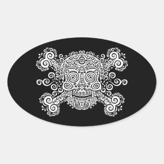 Antique Sugar Skull Oval Sticker