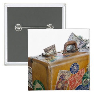 Antique suitcase with protruding money button