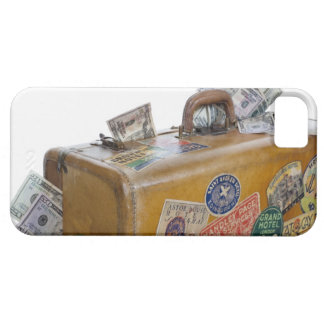 Antique suitcase with protruding money iPhone SE/5/5s case