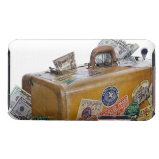 Antique suitcase with protruding money iPod touch case