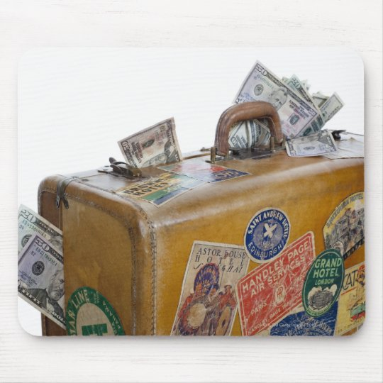 Antique suitcase with protruding money mouse pad