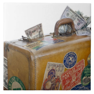Antique suitcase with protruding money tile