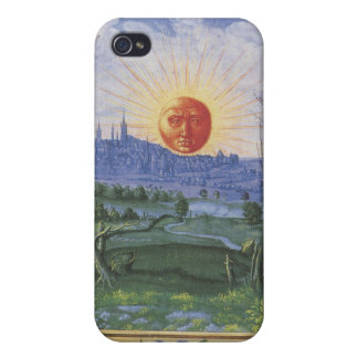 Antique Sun Face Over Blue City Flowers Speck Case Covers For iPhone 4