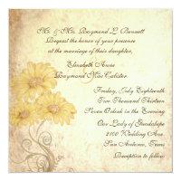 Antique Sunflowers Reproduction Wedding Invitation 5.25&quot; Square Invitation Card (<em>$2.26</em>)