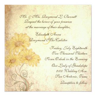 "Antique Sunflowers Reproduction Wedding Invitation 5.25"" Square Invitation Card"