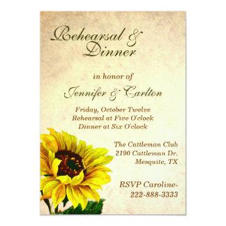 Antique Sunflowers Wedding Rehearsal Invitation