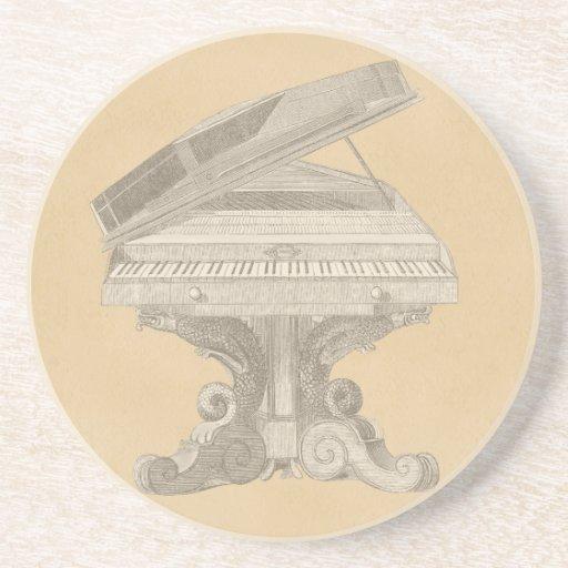 Antique Table Piano Drink Coaster Zazzle