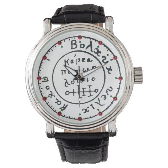 ANTIQUE TALISMAN / PIRATES TREASURE MAP Ruby Gem Wristwatch