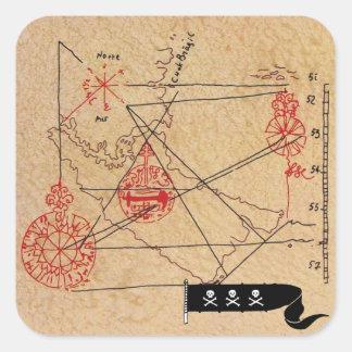 ANTIQUE TALISMAN / PIRATES TREASURE MAP SQUARE STICKER