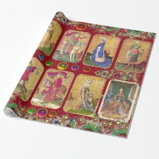 Antique Tarots,German Court Cards,Gold Red Floral Wrapping Paper