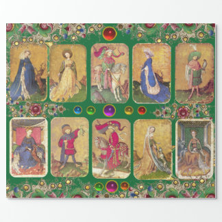 Antique Tarots,German Court Cards,Green Floral Wrapping Paper