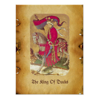 Antique Tarots /German Court Cards/King of Ducks Poster