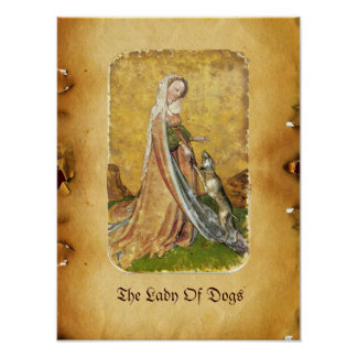 Antique Tarots /German Court Cards/Lady of Dogs Poster