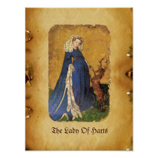 Antique Tarots /German Court Cards/Lady of Harts Poster