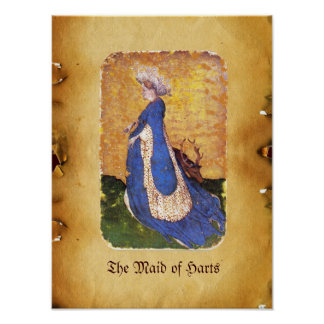 Antique Tarots /German Court Cards/Maid of Harts Poster