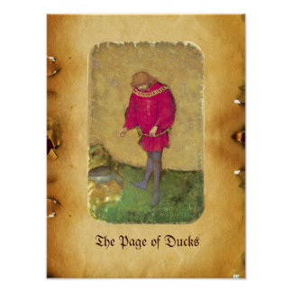 Antique Tarots /German Court Cards/Page of Ducks Poster