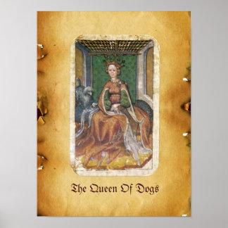 Antique Tarots /German Court Cards/Queen of Dogs Poster