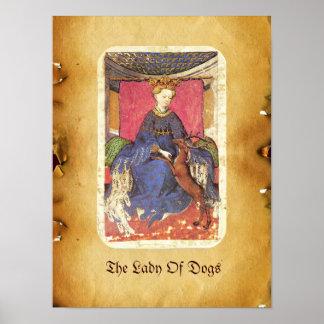 Antique Tarots /German Court Cards/Queen of Harts Poster