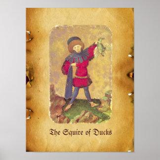 Antique Tarots /German Court Cards/Squire of Ducks Poster