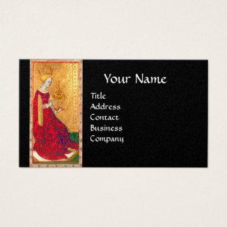 ANTIQUE TAROTS QUEEN OF CUPS BLACK GOLD MONOGRAM BUSINESS CARD
