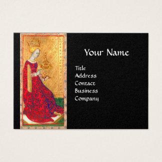 ANTIQUE TAROTS QUEEN OF CUPS GOLD BLACK MONOGRAM BUSINESS CARD