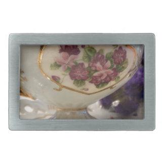 Antique Tea Cup and Saucer Rectangular Belt Buckle