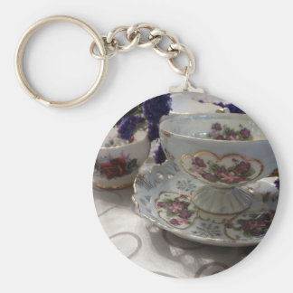 Antique Tea Cup and Saucer With Antique Sugar Bowl Keychain