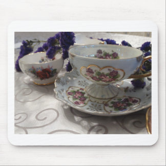 Antique Tea Cup and Saucer With Antique Sugar Bowl Mouse Pad