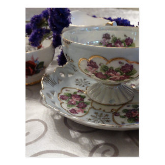 Antique Tea Cup and Saucer With Antique Sugar Bowl Postcard