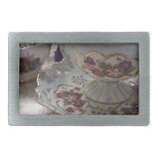 Antique Tea Cup and Saucer With Antique Sugar Bowl Rectangular Belt Buckle