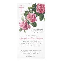 Antique Tea Rose & Cross Funeral Thank You Card