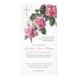 Antique Tea Rose & Cross Funeral Thank You Card