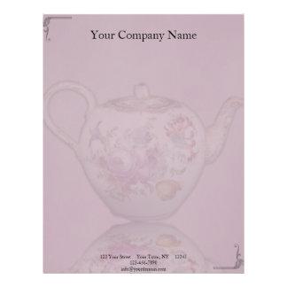 Antique Tea Time on Mauve Letterhead