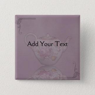 Antique Tea Time on Mauve Pinback Button