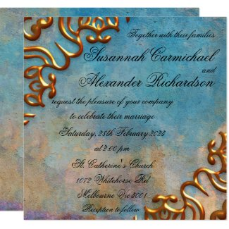 Antique Teal Watercolor and Gold Jewels Wedding Invitation