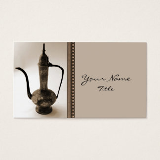 Antique Teapot on Taupe Business Card