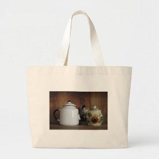 Antique teapot with cream and sugar set jumbo tote bag