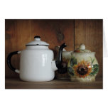 Antique teapot with cream and sugar set greeting card