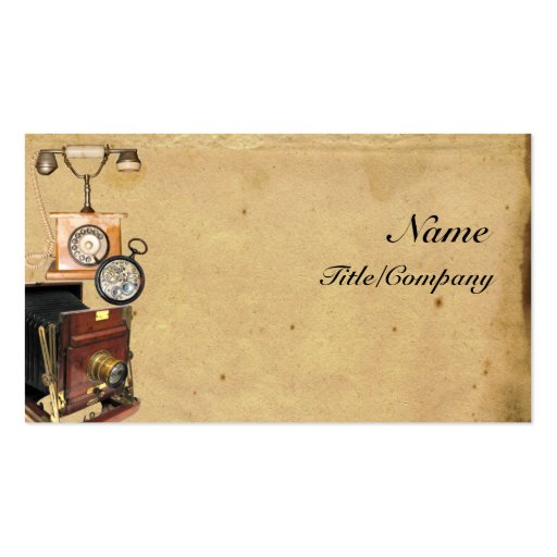 Antique Telephone, Compass, and Camera Business Card Templates