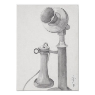 Antique Telephone pencil sketch reprint Poster