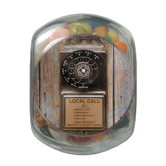 Antique telephone rotary dial pay phone jelly belly candy jar