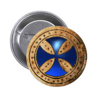 ANTIQUE TEMPLAR CROSS Blue Sapphire Gem Button