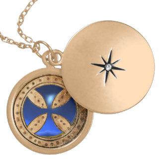 ANTIQUE TEMPLAR CROSS Blue Sapphire Gem Gold Plated Necklace